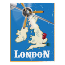 Vintage London Travel Poster Postcard