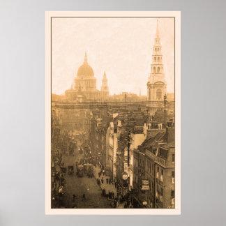 Vintage Londres, Fleet Street, San Pablo Póster