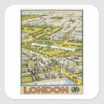 Vintage Londres Inglaterra Pegatina Cuadrada