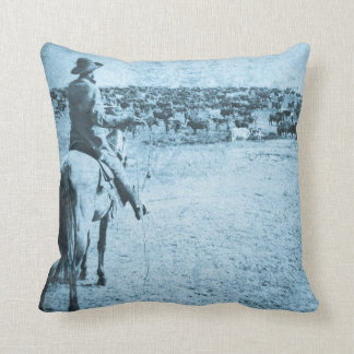 Vintage Lone Cowboy Home on the Range Throw Pillow