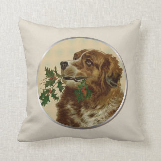 Vintage Long Haired Brown Dog with Holly Branch Throw Pillow
