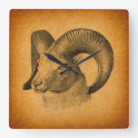 Vintage Longhorn Sheep Antique Art Rustic Orange Square Wall Clock