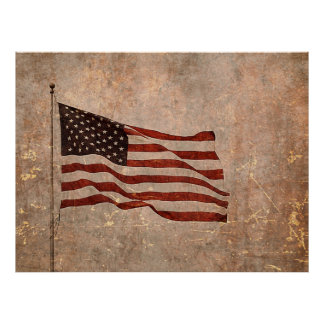 Vintage Look American Flag on Antiqued Background Poster