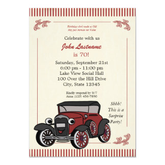 "Vintage Look Antique Car Birthday Invite 5"" X 7"" Invitation Card"