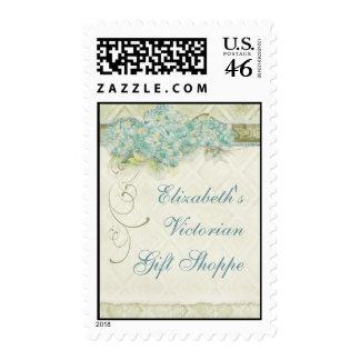 Vintage Look Aqua Hydrangea - Business Postage