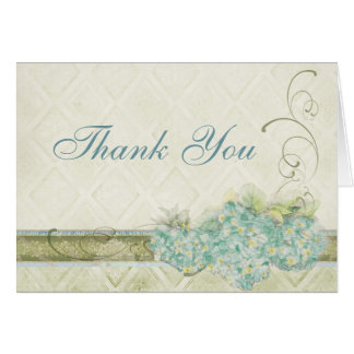 Vintage Look Aqua Hydrangea, Thank You Note Cards