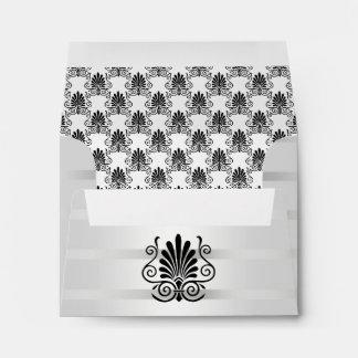 Vintage look Art Deco Plume Blk Wht A2 5.6x4 1/8 Envelope