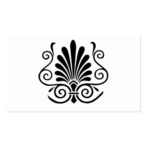 Vintage look art deco plume pattern black on white Double-Sided standard business cards (Pack of 100)