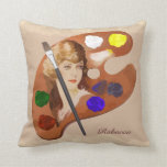 Vintage look artist pallette with womans face throw pillow