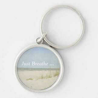 Vintage look beach scene key ring Silver-Colored round keychain