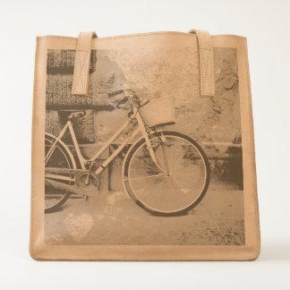Vintage look bicycle design tote bag