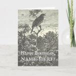 [ Thumbnail: Vintage Look Bird in Tree Birthday Card ]