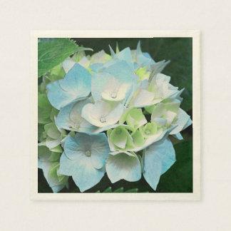 Vintage Look Blue Floral Hydrangea Paper Napkins