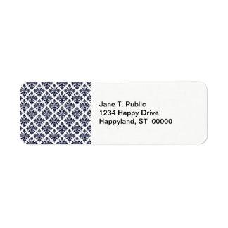 Vintage Look Blue & White Damask #3 Return Address Label