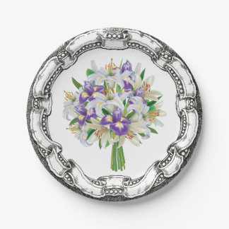 Vintage Look Bouquet Purple Iris and Lilies Paper Plate