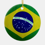 Vintage look Brazilian Flag Ceramic Ornament