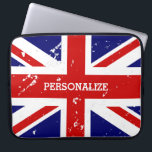 "Vintage look British Union Jack flag laptop sleeve<br><div class=""desc"">Patriotic vintage look British Union Jack flag laptop sleeve