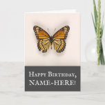 [ Thumbnail: Vintage Look Butterfly, Happy Birthday Card ]