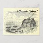 "[ Thumbnail: Vintage Look Cabin, Mountains, Lake + ""Thank You!"" Postcard ]"