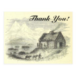 "[ Thumbnail: Vintage Look Cabin, Mountains, Lake + ""Thank You!"" Postcard ]"
