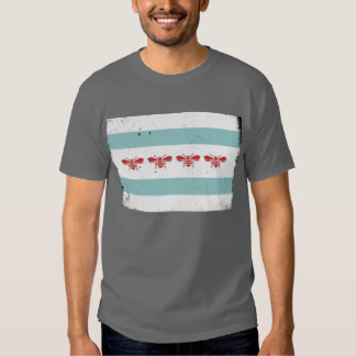 Vintage Look Chicago Bee Flag T Shirt