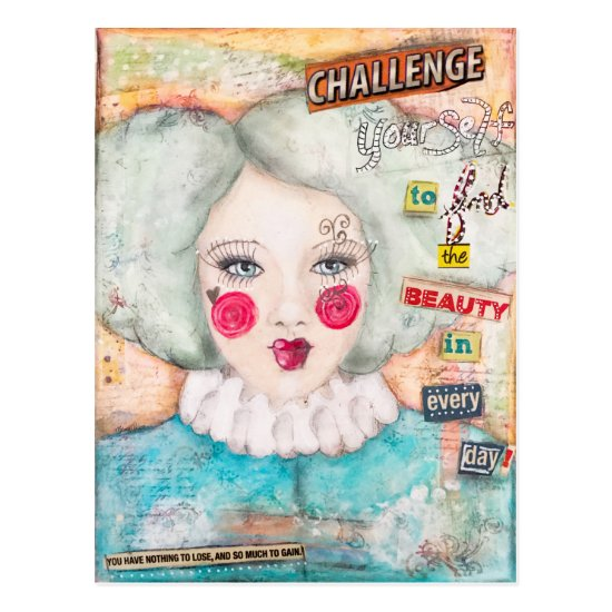 Vintage Look Clown Girl Fun Whimsical Collage Art Postcard