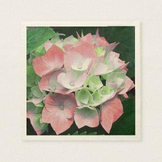 Vintage Look Coral Floral Hydrangea Paper Napkins
