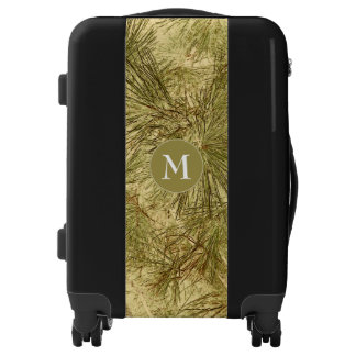 vintage look evergreen branches camo luggage