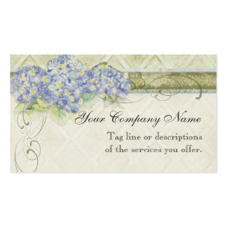 Vintage Look Floral Blue Hydrangea Flowers Swirl Business Card Templates