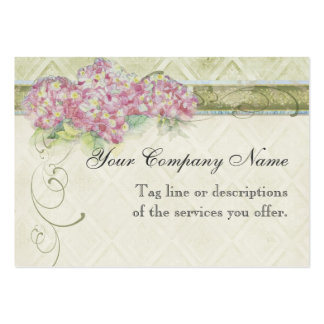 Vintage Look Floral Blue Hydrangea Flowers Swirl Business Card