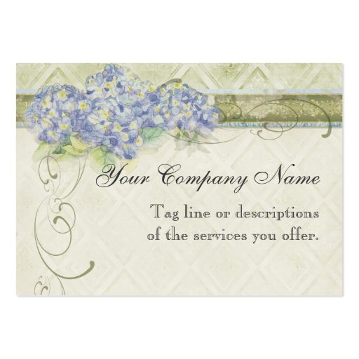 Vintage Look Floral Blue Hydrangea Flowers Swirl Large Business Cards (Pack Of 100)