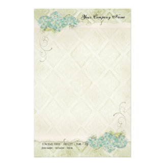 Vintage Look Floral Blue Hydrangea Flowers Swirl Stationery Design