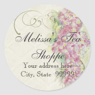 Vintage Look Floral Blue Hydrangea Flowers Swirl Classic Round Sticker