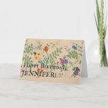 [ Thumbnail: Vintage Look Flowers, Leaves, Stem; Happy Birthday Card ]