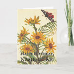 [ Thumbnail: Vintage Look Flowers, Moth Insect Birthday Card ]
