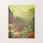 [ Thumbnail: Vintage Look Flowers, Mountains Jigsaw Puzzle ]