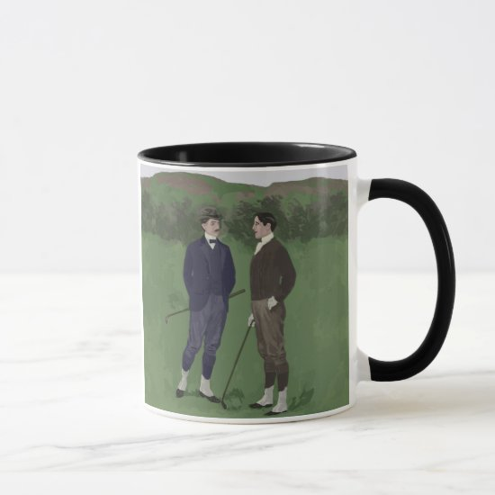 Vintage look golf scene mug