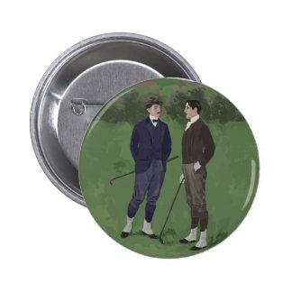 Vintage look golf scene pinback button