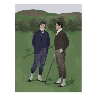 Vintage look golf scene postcard