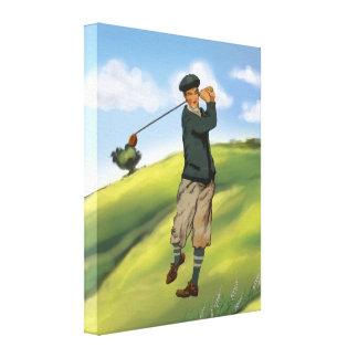 Vintage look Golfer Golf Canvas Print