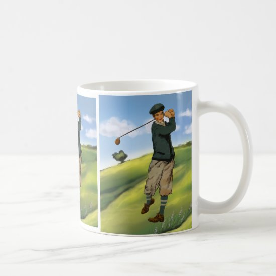 Vintage look Golfer Golf Large Mug