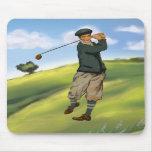 Vintage look Golfer Golf Mousepad