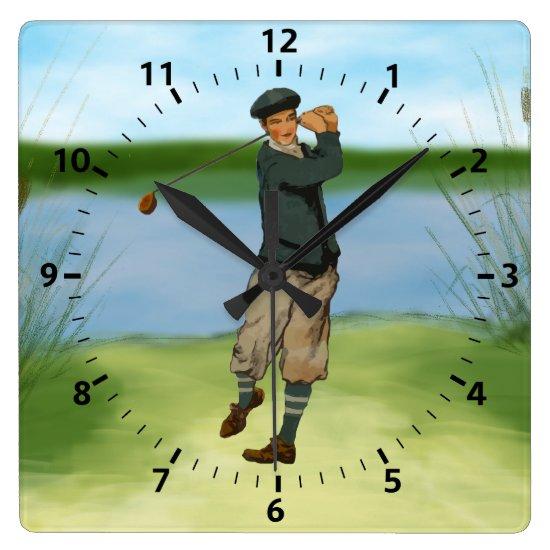 Vintage look Golfer Golf raking a swing Square Wall Clock