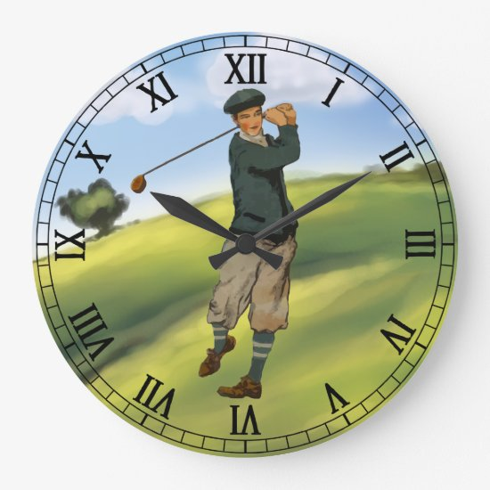 Vintage look Golfer Golf taking a swing Large Clock