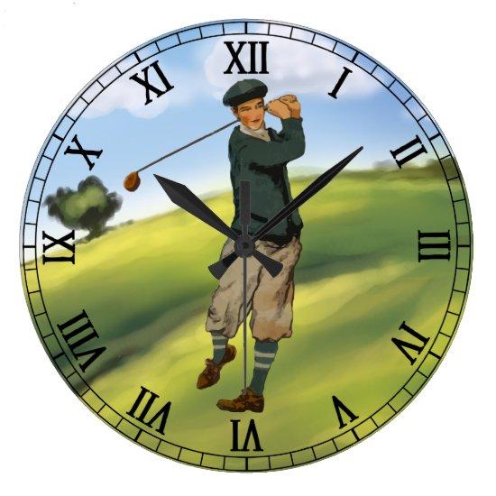 Vintage look Golfer Golf taking a swing Large Clock