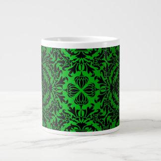 Vintage look Green & Black Damask #4 20 Oz Large Ceramic Coffee Mug