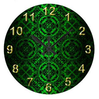 Vintage look Green & Black Damask #4 Wall Clocks