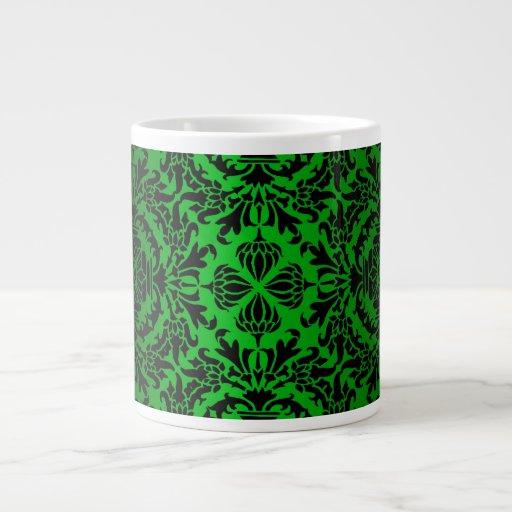 Vintage look Green & Black Damask #4 Giant Coffee Mug