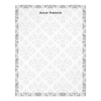 Vintage Look Grey on Grey Damask #3 Letterhead