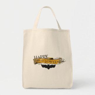 Vintage-Look Happy Halloween Bat Tote Bag